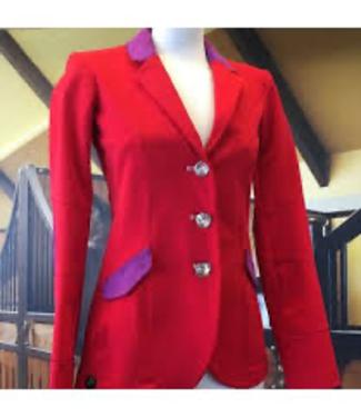 HorsePilot Veste Tailor Made Femme, Red/Violet + Swarovski Button