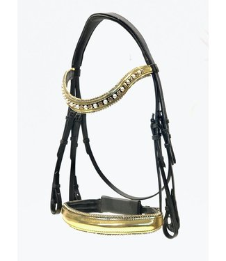 """Döbert """"Classic"""" Bar and bridle bridle, Gold lacquer noseband + Swarovski, Browband Gold lacquer (3 rows of Swarovski / Pearls)"""
