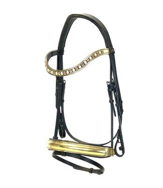 "Döbert ""Classic"" bridle bridle, noseband: gold paint, browband: gold paint + Swarovski / Pearls"