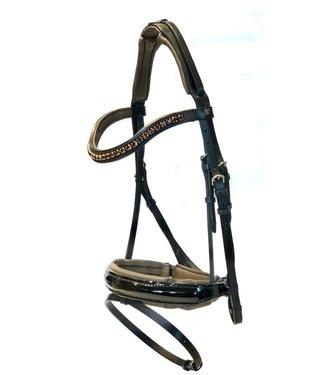 "Döbert ""Classic"" bridle bridle, brown underlay, noseband: black lacquer, browband: swarovski"