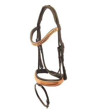 Döbert Snaffle Bridle WB, Black, Copper Lacquer Noseband and Browband