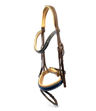 Döbert Classic Bartack, Brown, Blue lacquer Noseband and Browband, Beige padded