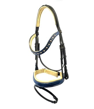 Döbert Classic Snaffle Bridle, Blue Lacquer Noseband and Browband, Gold padded