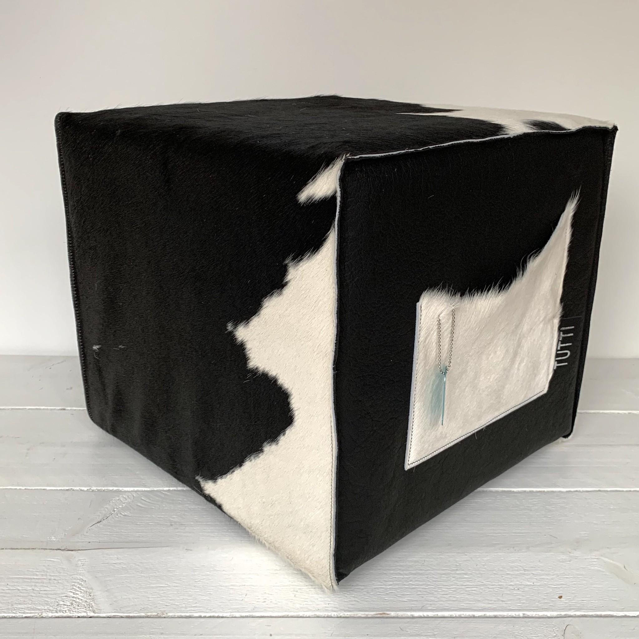 Tutti Concepts Hocker koeienhuid zwart wit