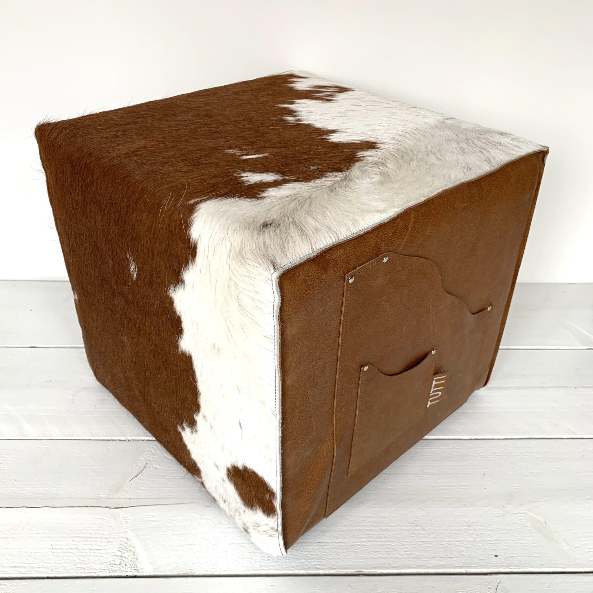 Tutti Concepts Hocker koeienhuid Bruin wit