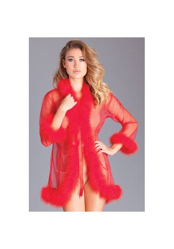Be Wicked Kimono Met Veertjes - Rood