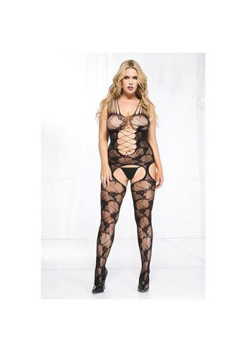Music Legs Plus Size Kanten Catsuit Met Jarreteldesign