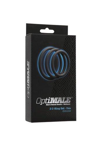 OptiMALE Drie dunne penisringen - Grijs