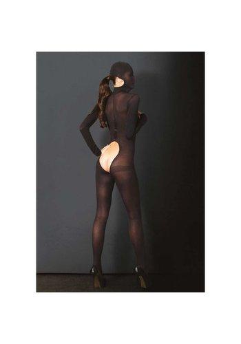 KINK Bedekkende catsuit open kruis - zwart