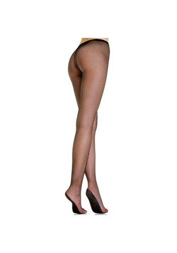 Music Legs Netstof Panty Met verstevigd Voetje - Zwart