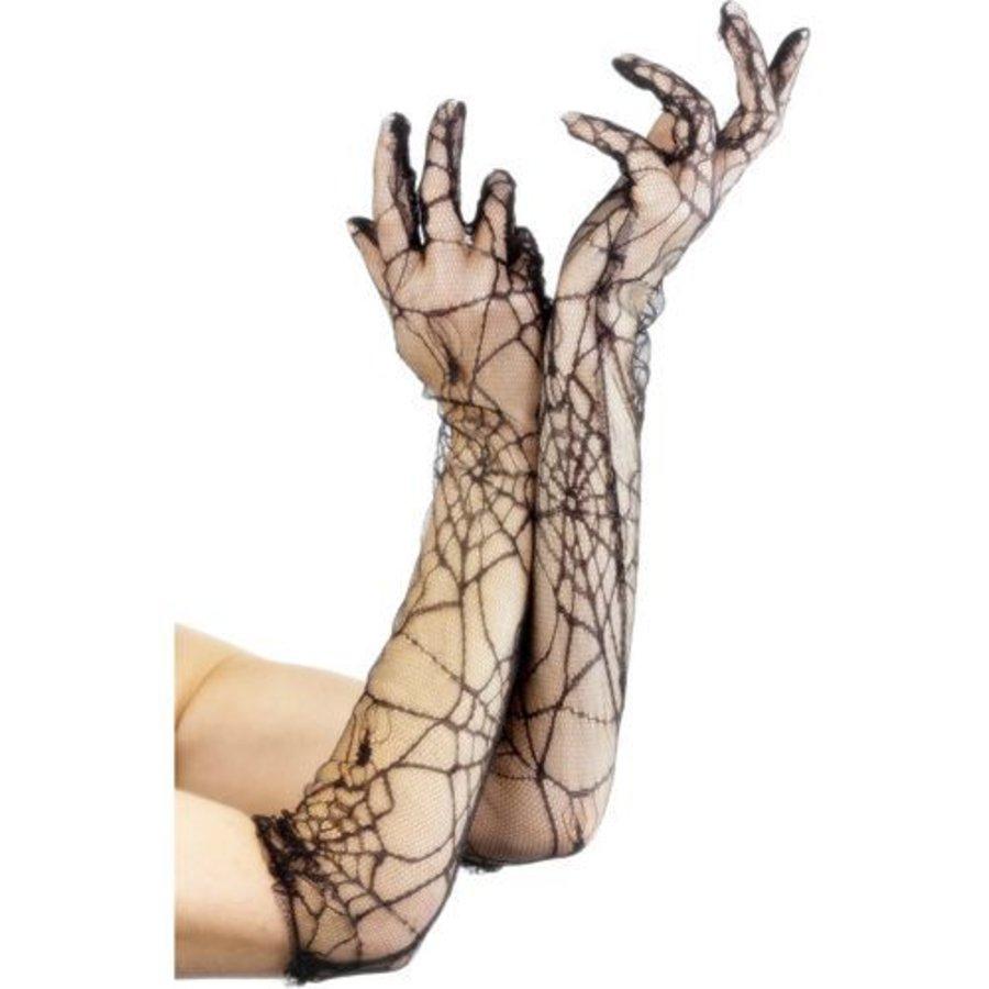 Handschoenen Met Spinnenwebprint