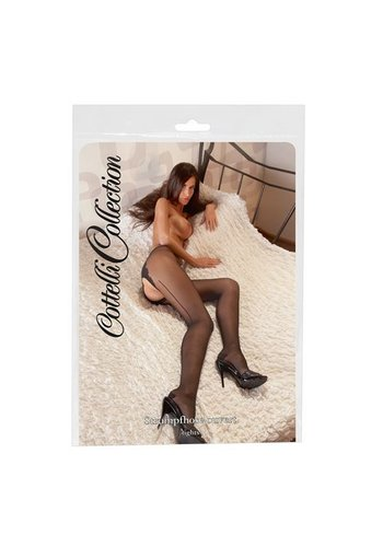 Cottelli Collection Zwarte panty's met open kruisje