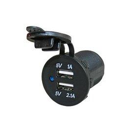 USB lader 1x1A + 1x2.1A, inclusief moer en afdekkapje