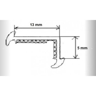 Onderlegrubber zwart 19 mm o.a Wilk  per meter