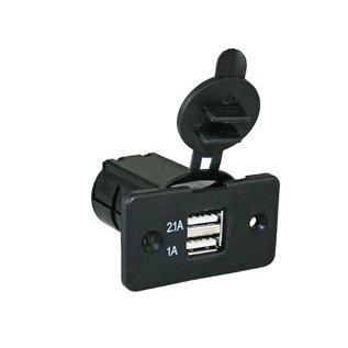 12 Volt USB lader inbouw, USB 1x 2.1A + 1x 1A.