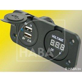 HABA Inbouw 2x USB lader + voltmeter