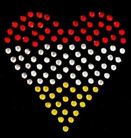 Niiniix Oeteldonk strass applicatie Oeteldonks hartje rood, wit, geel 4cm