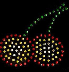 Niiniix Oeteldonk strass applicatie Oeteldonkse kersjes rood, wit, geel, groen 6cmx7cm