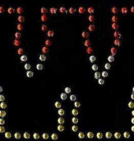 Niiniix Oeteldonk strass applicatie alfabet rood, wit, geel 4cm hoog open letter W