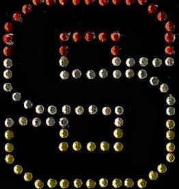 Niiniix Oeteldonk strass applicatie alfabet rood, wit, geel 4cm hoog open letter S