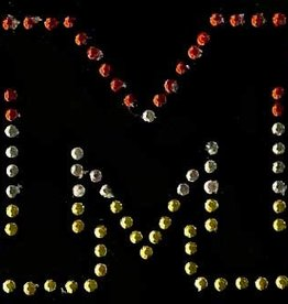 Niiniix Oeteldonk strass applicatie alfabet rood, wit, geel 4cm hoog open letter M