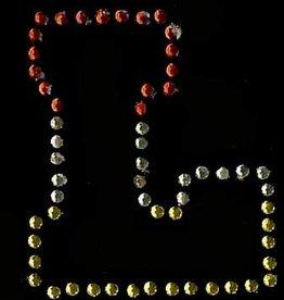 Niiniix Oeteldonk strass applicatie alfabet rood, wit, geel 4cm hoog open letter L