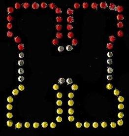 Niiniix Oeteldonk strass applicatie alfabet rood, wit, geel 4cm hoog open letter H