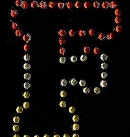 Niiniix Oeteldonk strass applicatie alfabet rood, wit, geel 4cm hoog open letter F