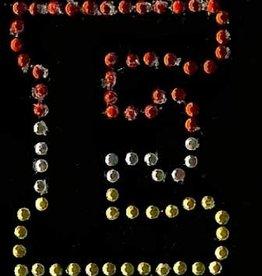 Niiniix Oeteldonk strass applicatie alfabet rood, wit, geel 4cm hoog open letter E