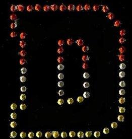 Niiniix Oeteldonk strass applicatie alfabet rood, wit, geel 4cm hoog open letter D