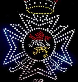Niiniix Oeteldonk strass Kruis voor moed en trouw leeuw met kroon rood wit geel 11cmx15cm