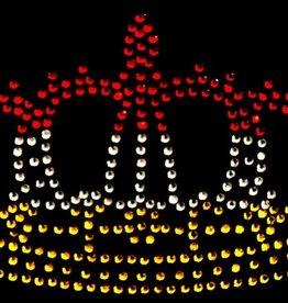 Niiniix Oeteldonk strass strijkembleem kroontje luxe groot 16cmx10cm rood, wit, geel