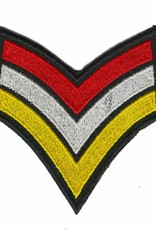 sergeantstreep rood / wit / geel met zwarte rand