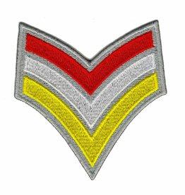 sergeantstreep rood / wit / geel met zilveren rand
