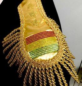 Epauletten met stevige vilt basis mooi goud met strass glitter embleem