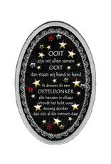 Niiniix Luxe borduur embleem met print en strass sterren zilver