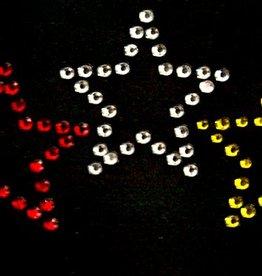 Niiniix Oeteldonk strass applicatie Oeteldonkse sterren rood, wit, geel, per 3 10cmx5cm