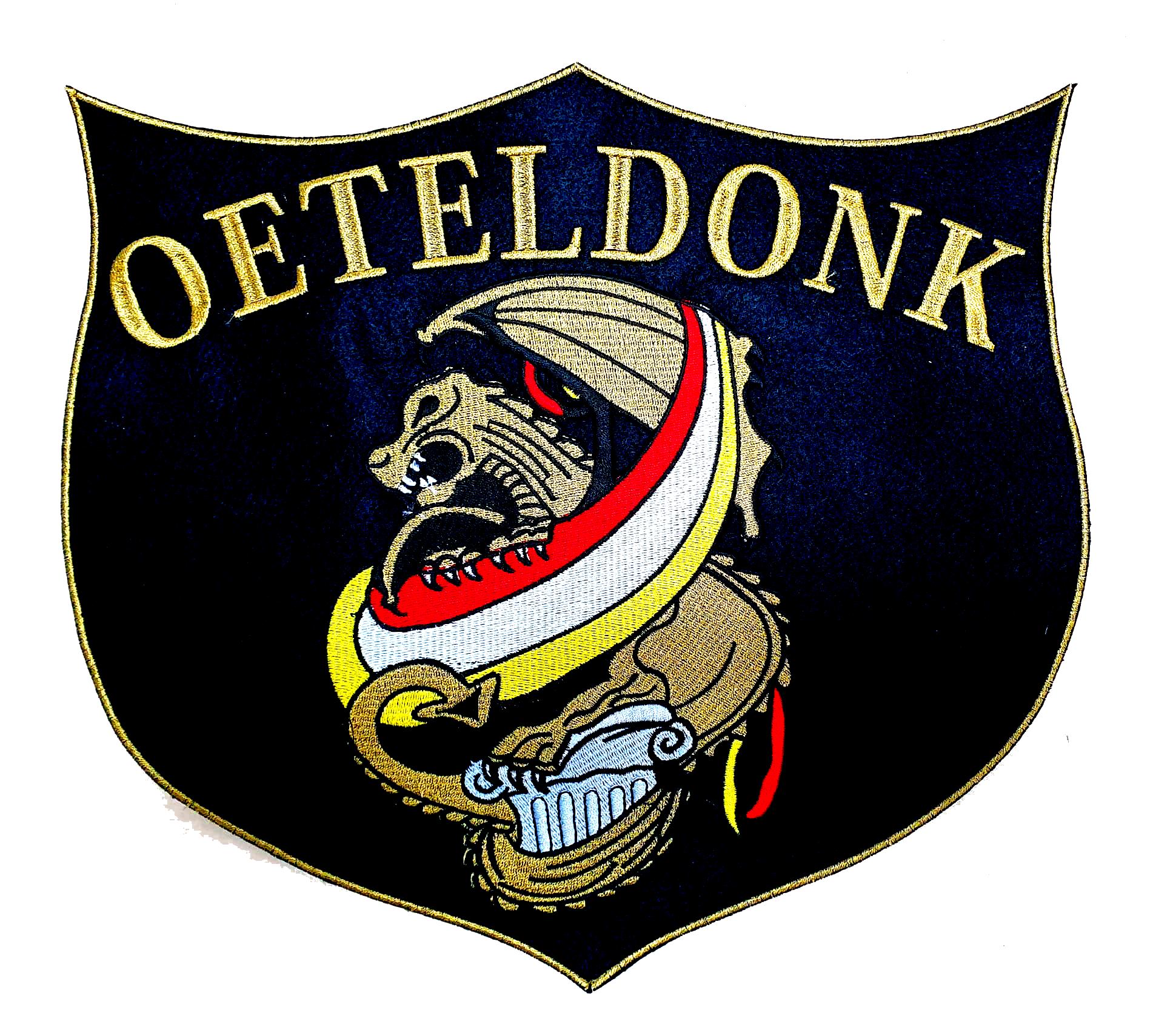 Niiniix Oeteldonks borduur embleem met Bossche gouden draak en tekst Oeteldonk in groot schild