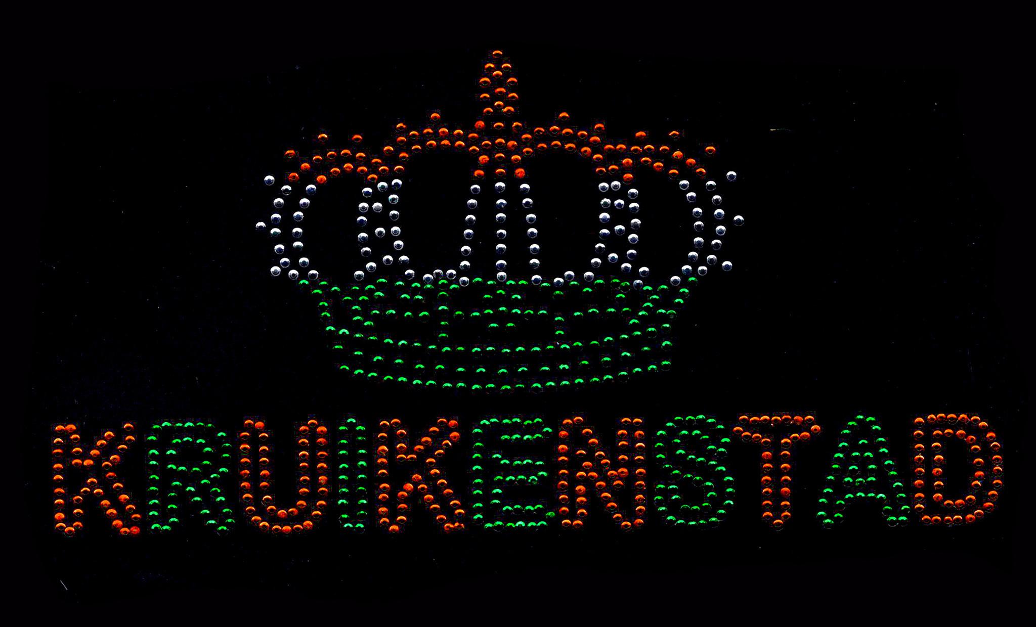 Niiniix Kroontje met tekst Kruikenstad strass embleem Carnaval in Kruikenstad