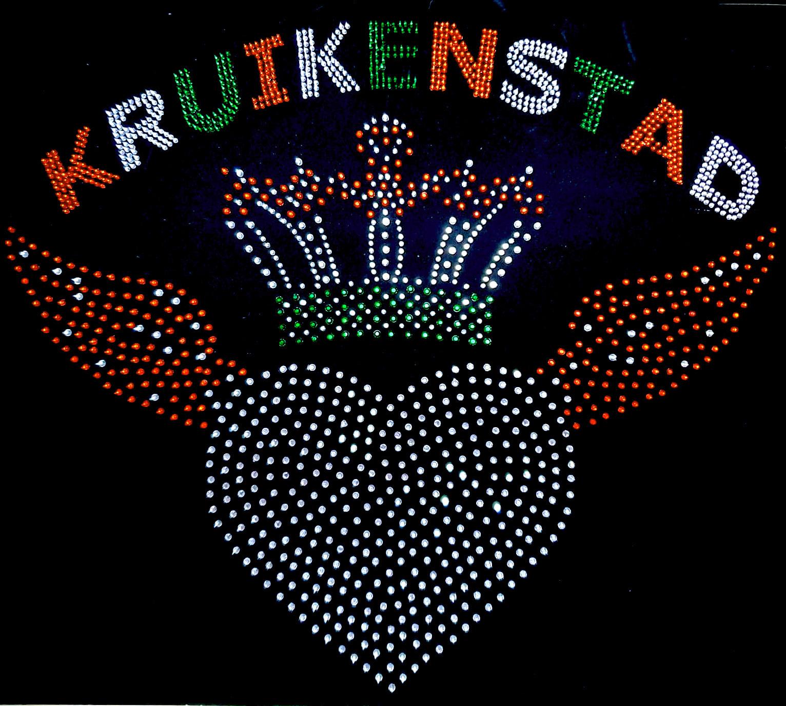 Niiniix Hart met vleugels en tekst Kruikenstad strass embleem Carnaval in Tilburg  voor militair jasje zelf te pimpen