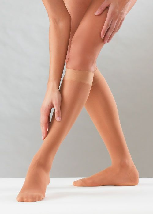 Sanyleg Preventive Sheer Knee High 15-21 mmHg, Black, L/XL