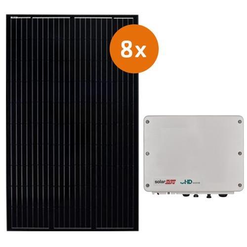 Pv-pakket 8 DMEGC 300 Wp full black Met Solaredge SE2200H