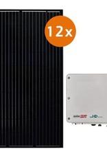 Pv-pakket 12 DMEGC 300 Wp full black met Solaredge SE3500H