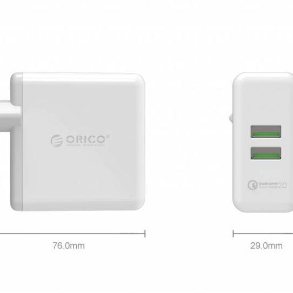 Orico Duo USB Turbolader mit Qualcomm Schnellladung 2,0-2 Port QC2.0 Ladegerät 36W, 12V / 9V / 5V Weiß