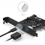 Orico 2 Poorts USB 3.1 Gen 2 + Type-C PCIe Kaart (10Gbps) met 1x USB-A en 1x USB-C Type C
