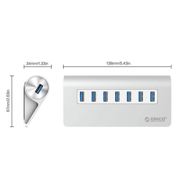 Orico 7 Poort USB 3.0 Hub Aluminium 7-port Hub High Speed 5Gbps inclusief 12V Stroom adapter