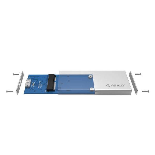 Orico Hard Drive housing USB 3.0 / Aluminum / M-SATA / SSD / Micro-B / Screws / Silver