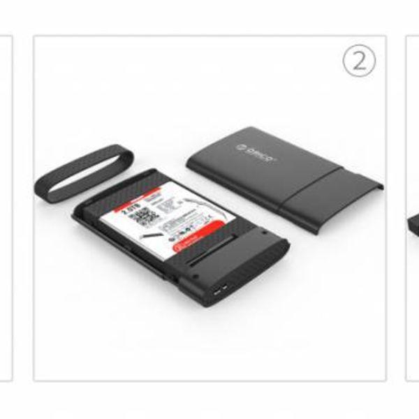 Orico Boîtier pour disque dur 2,5 pouces - HDD / SSD - USB3.0 - noir