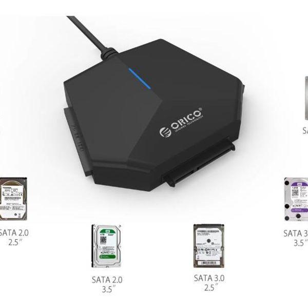 Orico Adaptateur / convertisseur de disque dur USB 3.0 vers 2.5 et 3.5 pouces SATA et IDE - Noir