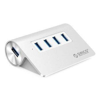 Orico Aluminium USB 3.0 hub met 4 poorten - 5Gbps - Kabellengte: 100 cm -  Zilver